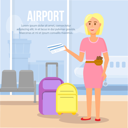 Airport Square Banner with Copy Space. Blonde Woman Character Wearing Pink Dress and Brown Purse on Waist Holding Ticket in Hands on Terminal Waiting Area Background. Cartoon Flat Vector Illustration. Ilustração