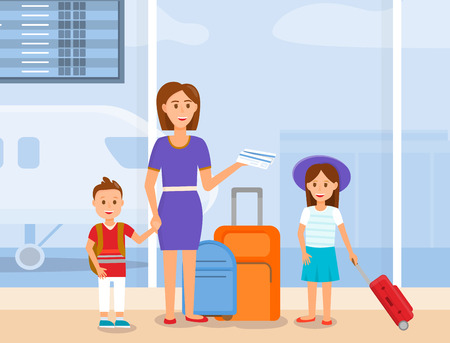 Mother Traveling with Little Daughter and Son Characters. Happy Young Woman in Purple Dress Standing with Children and Luggage on Modern Airport Terminal Background. Cartoon Flat Vector Illustration. Ilustração