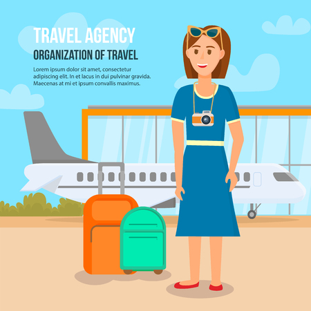 Travel Agency. Organization of Travel Square Banner with Copy Space. Woman Character Stand with Luggage on Outside Airport Area Background. Summertime Holiday Voyage. Cartoon Flat Vector Illustration.