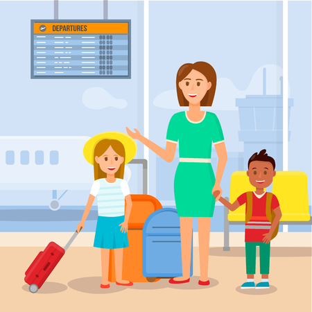 Mother Travelling with Little Daughter and Son Characters by Airplane. Happy Young Woman in Green Dress Stand with Children and Luggage on Airport Terminal Background. Cartoon Flat Vector Illustration
