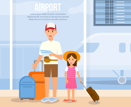 Airport Horizontal Banner with Copy Space. Smiling Man Holding Tickets and Luggage Stand with Little Girl in Dress on Airplane Background. Father Travel with Daughter Cartoon Flat Vector Illustration.