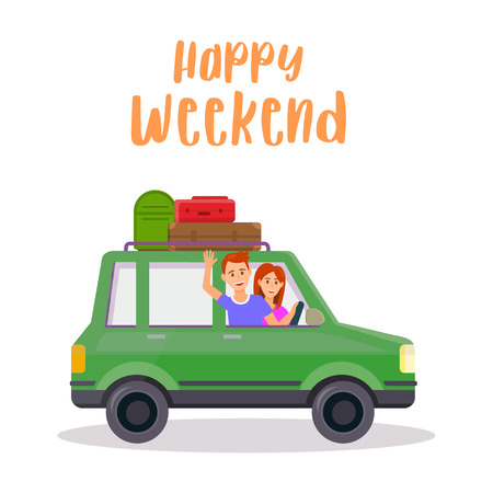 Happy Weekend Square Banner. Young Smiling Man and Woman Travel. Happy Couple Traveling by Green Car with Trunk on Roof and Luggage Bags Isolated on White Background. Cartoon Flat Vector Illustration.