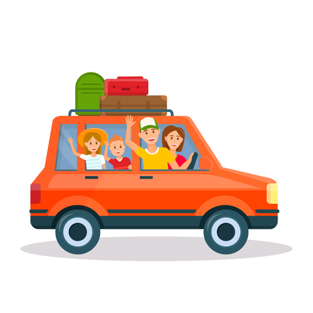 Happy Family Traveling by Car with Luggage on Roof. Mother, Father, Daughter and Son on Vacation Isolated on White Background. Parents Traveling with Kids Together. Cartoon Flat Vector Illustration.