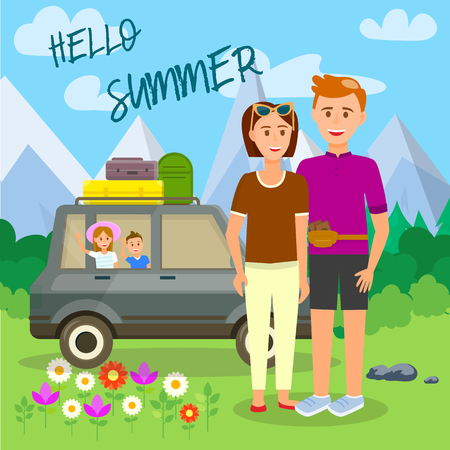 Hello Summer Square Banner. Parents Stand at Car with Little Kids Sitting Inside and Bags on Roof on Beautiful Landscape with Mountains and Blue Cloudy Sky Background. Cartoon Flat Vector Illustration