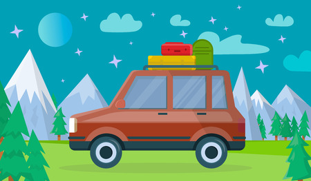Red Colored Modern Car with Luggage Bags on Spacious Trunk at Roof at Nighty Background with Highland Landscape and Starry Sky with Moon and Clouds. Vacation Travelling. Flat Vector Illustration. Ilustracja
