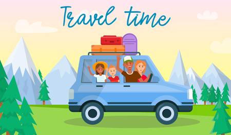 Travel Time Horizontal Banner. Happy Family with Parents and Kids Traveling by Car with Luggage Bags on Roof at Colorful Sunset Cloudy Sky and Mountains Background. Cartoon Flat Vector Illustration. Zdjęcie Seryjne - 124102885