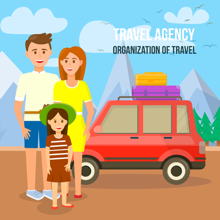 Travel Agency. Organization of Travel Square Banner. Young Family Stand at Car with Bags on Roof at Highland Landscape Background. Mother, Father and Little Daughter. Cartoon Flat Vector Illustration.