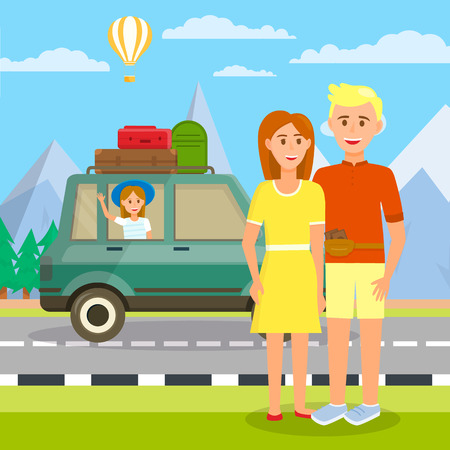 Couple of Young Parents Stand at Car with Little Girl Sitting Inside and Waving Hand. Luggage on Roof. Highland Background and Floating Air Balloon on Cloudy Sky. Cartoon Flat Vector Illustration.