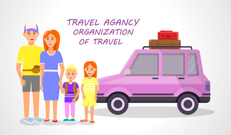 Travel Agency. Organization of Travel Horizontal Banner. Couple and Little Children Traveling Isolated on White Background. Happy Family with Kids Stand at Pink Car. Cartoon Flat Vector Illustration.