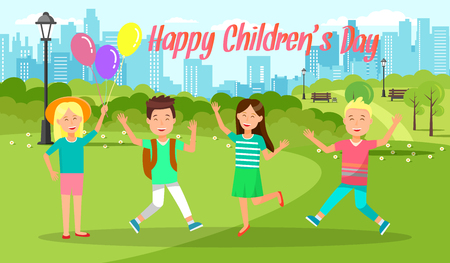 Happy Childrens Day Horizontal Banner. Cheerful Boys and Girls Jumping with Hands Up. Weekend in City Park Background. Cute Funny Kids Happy Pastime on Summer Vacation Cartoon Flat Vector Illustration