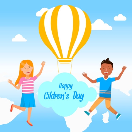 Happy Childrens Day Square Banner. Cheerful Little Boy and Girl with Hands Up Fly on Blue Cloudy Sky Background with Yellow and White Striped Air Balloon. Summertime. Cartoon Flat Vector Illustration. Standard-Bild - 124102898