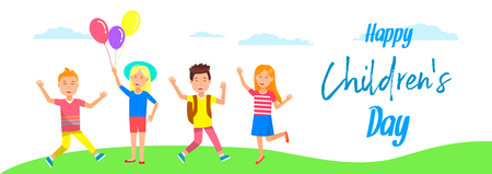 Happy Childrens Day Horizontal Banner. Cute Cheerful Kids Stand on Grass. Smiling Girls with Balloons, Boys Waving Hands on Cloudy Sky Background. Summer Vacation. Cartoon Flat Vector Illustration. Standard-Bild - 124102899