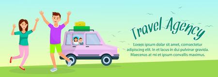 Reisbureau horizontale banner met kopie ruimte. Vrolijke ouders springen met handen omhoog. Kinderen zitten in de auto op de achtergrond van de natuur. Gelukkig man, vrouw en kinderen vakantie. Cartoon platte vectorillustratie.