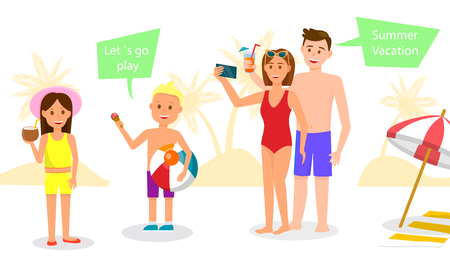 Summer Vacation Horizontal Banner. Happy Family Having Rest at Resort. Parents and Kids in Swimwear Relax on Vacation in Warm Country, Playing Ball and Sun Bathing. Cartoon Flat Vector Illustration.