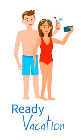 Banner vertical de vacaciones listo. Joven guapo morena y mujer encantadora en traje de baño beber cóctel, hacer Selfie aislado sobre fondo blanco Vacaciones de verano. Ilustración de Vector plano de dibujos animados
