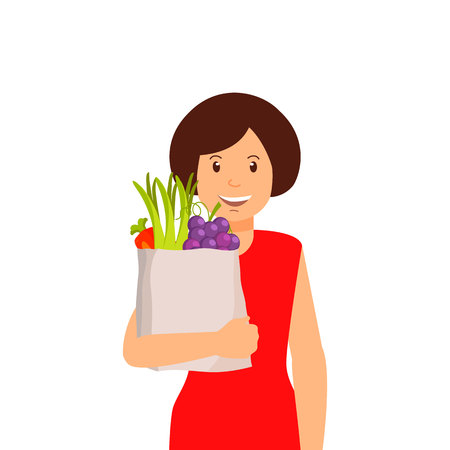 Women with Bag of Fruit and Vegetables Clipart. Eco, Organic, Natural Products. Smiling Female Cartoon Character. Carrots, Grapes, Onion in Paper Pocket. Buyer, Seller Flat Clipart. Farmers Market