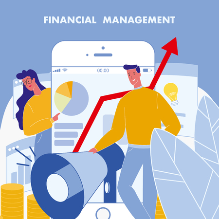 Financial Management Flat Vector Poster with Text. Business Strategy. SMM. Analytics, statistics. Mobile notification. Sales Conversion. Investment, Accounting. Woman pointing on Smartphone