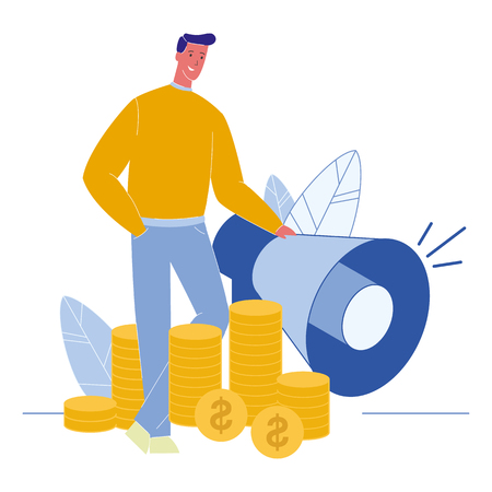 Financial Consulting Flat Vector Illustration. Refer a Friend. Marketing Campaign Prices. Marketer near Megaphone. Rich, Successful Man. Coins Piles. Banking, Funding, Investment. Profit, Income