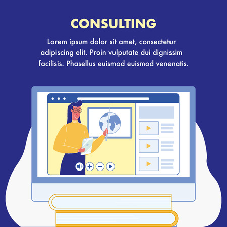 Online Consulting, Education Flat Poster Template. Distance Learning Vector Illustration with Text Space. Video Tutorial. Webinar. E-learning. Website Page on Tablet Screen. Teacher Pointing on Board Çizim
