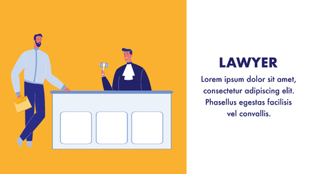 Lawyer Flat Vector Web Banner with Text Space. Judge in Courtroom. Confident Advocate Male Character. Courthouse. Magistrate in Gown with Gavel. Successful Man with Briefcase. Law Firm, Company