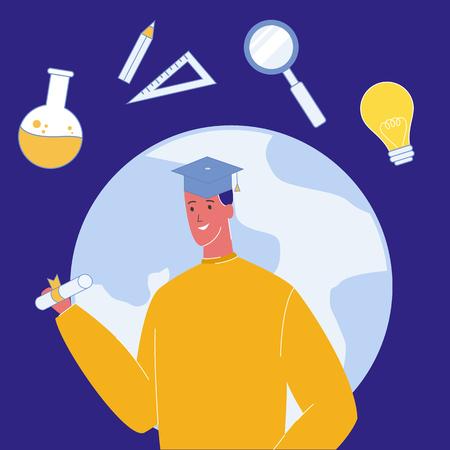 Student in Graduation Cap Vector Illustration. Higher Education in University, College. Bachelor's, Master's Degree. Diploma, Certificate. Student Exchange Program. E-Learning. Globe, Planet Earth
