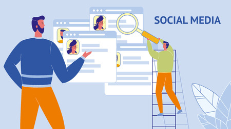 Social Media Flat Vector Web Banner with Text. Man on Ladder with Magnifier Looking at Browser Tabs. Target Audience. SMM. Social Profiles Pages, CV. HR Managers Characters. Communication, Networking Illustration