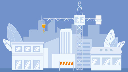 Construction Industry Flat Vector Illustration. Industrial Cargo Crane. Orange Stop, Warning Barrier. Factory. Apartment Houses Silhouette. Real Estate Development. City, Town at Night. Huge Leaves