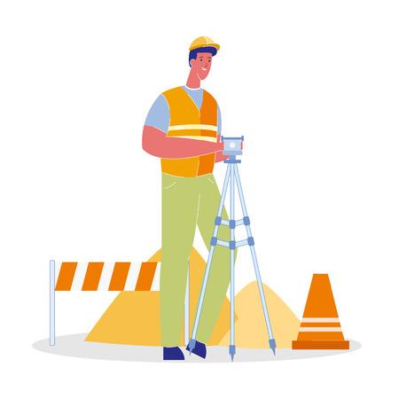 Handyman in Uniform Color Vector Illustration. Worker with Auto Level. Road Works Flat Clip art. Asphalt Repair. Under Construction. Heaps of Sand. Orange Cone, Stop Barrier. Repairman in Helmet