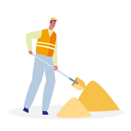 Worker with Shovel Cartoon Vector Illustration. Handyman in Uniform Digging Ground. Heaps of Sand. Repairman in Orange Helmet. Road Works Flat Clipart. Asphalt Repair. Under Construction