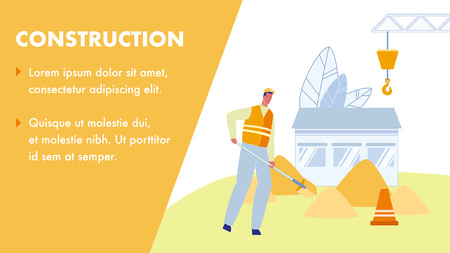 Construction Vector Web Banner with Text Space. Worker with Shovel. Handyman in Uniform Digging Ground. Heaps of Sand. Repairman Character in Orange Helmet. Under Construction. Cone, Crane