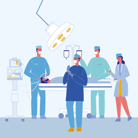 Surgeons in Operating Room Vector Illustration. Unconscious Patient on Bed. Surgical Lamp. Doctors Characters. Anesthesiologist with Mask. Intravenous Drip in Hospital. Nurse, Paramedic. Medical Team