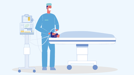 Man in Reanimation Cartoon Vector Illustration. Unconscious Patient on Bed. Medical Ventilator. Emergency Room. Surgeon In Operating Room. Doctor, Paramedic Character. Specialist in Face Mask