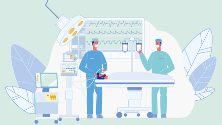 Surgeons in Operating Room Color Illustration. Unconscious Patient on Bed. Surgical Lamp. Doctors Characters. Anesthesiologist with Mask. Man in Reanimation. Medical Team. Heartbeat, Pulse on Monitor