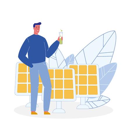 Ecologist, Solar Panels Flat Vector Illustration. Man Holding Tube with Green Liquid. Biologist, Chemist. Eco, Organic Fertilizer. Bio Fuel. Alternative Eco Energy. Ecology, Environment Protection