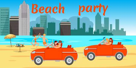 Beach party flat banner with lettering. Sea resort. Young people in swimsuits driving car, have fun on ocean beach. Teenage holidaymakers, tourists cartoon characters. Summer time vector illustration