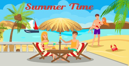 Summer vacation flat color illustration. Summertime lettering. Two couples have beach rest. Friends company cartoon characters. Romantic journey, trip. Sea resort hotel. Travel agency banner template
