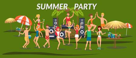 Summer party banner flat template. Sea resort. Young people in swimsuits dancing, listen to music on beach. Teenage holidaymakers, tourists cartoon characters. Beach time illustration with lettering Vectores