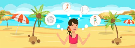 Beach volleyball flat vector color illustration. Sea resort. Hotel outdoor activities. Girl think about game with ball. Holidaymaker, tourist have fun cartoon character. Summer vacation banner idea