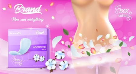 Feminine Hygiene Products. Concept of Freshness and Fragrance. Banner Ad. Pack of Hygienic Pads. Woman Silhouette. Young Body Shape and Belly. Ultra Thin Pads. Comfort and Protection. Vector EPS 10.