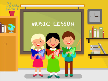 School subject flat design illustration. Schoolchildren sing song near blackboard. Schoolkids, pupils, classmates cartoon characters. Music lesson. Classroom interior. School education vector concept