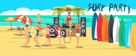 Surf party banner flat template. Sea resort activities. Young people in swimsuits with surfboards on ocean beach. Surfers dancing, have fun cartoon characters. Summer time illustration with lettering