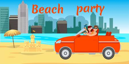 Beach romantic date flat banner with lettering. Sea resort. Young couple driving car on ocean beach. Lovers, holidaymakers, tourists cartoon characters. Summer time vector illustration
