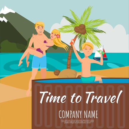 Time to travel lettering flat illustration. Summertime. Friends have beach rest. Swimming pool, mountain, palm composition. Young holidaymakers characters. Sea resort. Travel agency banner template