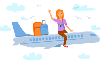 Young Woman Sitting on Airplane Flat Illustration. Lady Waving Hi Vector Drawing. Female Student, Teenager Going on Vacation. Tourist with Camera. Suitcases, Luggage Vectores