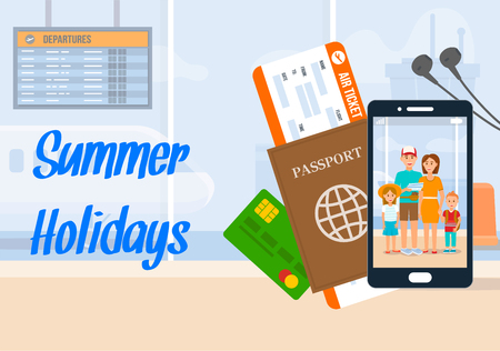 Summer Holidays Lettering on Horizontal Banner. Vacation, Holiday Vector Illustration. Airport Terminal, Departure Lounge. Air Ticket, Passport Flat Drawing. Family Photo on Smartphone Screen Ilustração