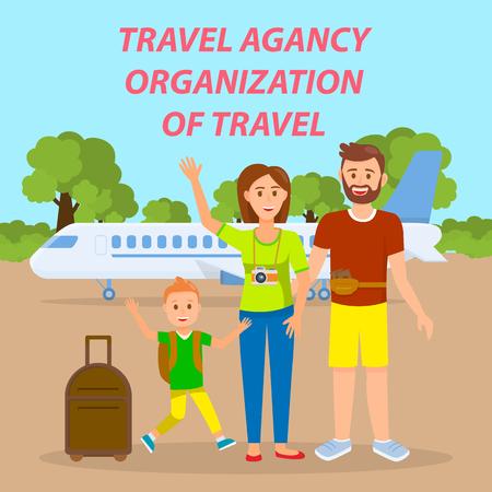 Familia viajando en avión Banner de redes sociales. Cartel de vector de agencia de viajes con texto, letras. Padres con hijo en dibujo plano de sala de embarque. Turistas con personajes de dibujos animados de maletas