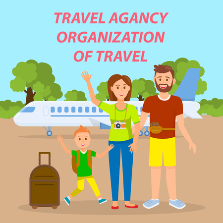 Family Traveling by Plane Social Media Banner. Travel Agency Vector Poster with Text, Lettering. Parents with Son in Departure Lounge Flat Drawing. Tourists with Suitcases Cartoon Characters