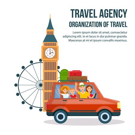 Plakat kreskówka wycieczka krajoznawcza do Wielkiej Brytanii. Ilustracja wektorowa atrakcji turystycznych Londynu z miejsca na tekst. Big Bena, Londyńskie Oko. UK światowej sławy płaski rysunek. Rodzinni turyści w samochodzie, Cab