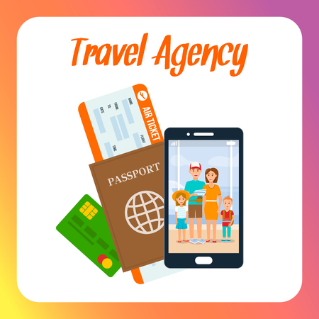 Travel Agency Social Media Post Layout with Text. Air Ticket, Passport, Debit Card Vector Illustration. Family Photo on Smartphone Screen. Mother and Father with Children Cartoon Characters 向量圖像