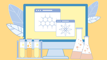Scientific, Chemistry Equipment Flat Illustration. Tubes, Flasks with Liquid Vector Clipart. Molecules, Atoms Models. Tabs on Computer Screen. Education, Studying. Chemical Formulas, Connections